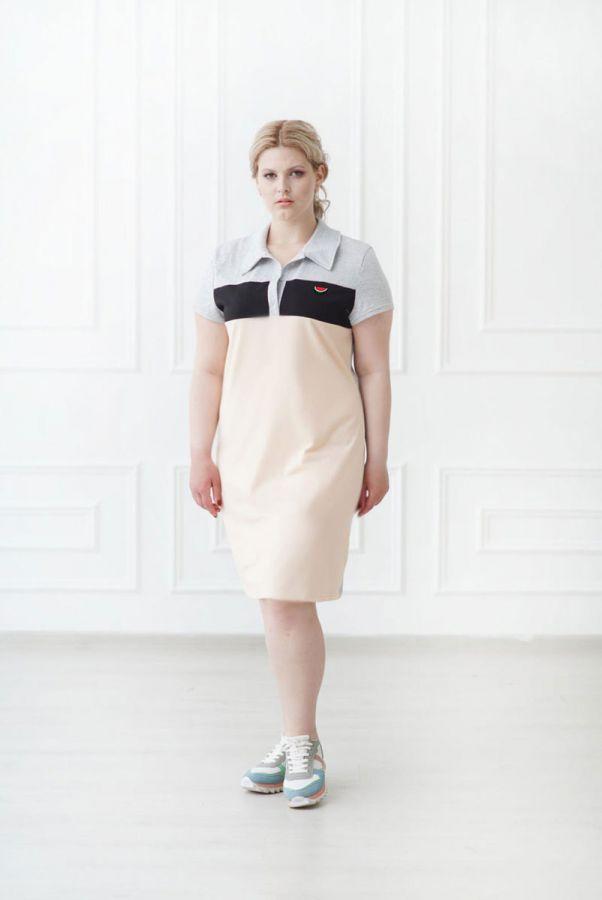 Платье-поло арт.0742-84 пудровое, кулирка