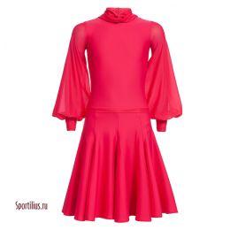 Платье для танцев, рукав шифон, красное