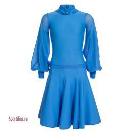Платье для танцев, рукав шифон, голубое