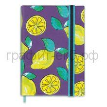 Книжка зап.А6 Феникс+ СОФТ-ТАЧ на резинке в точку Лимоны фиолетовый 240стр.47736