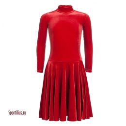 Бархатное платье для танцев красное