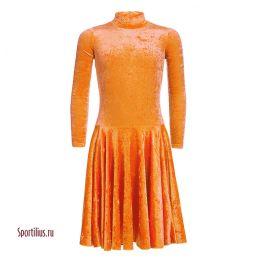 Бархатное платье для танцев оранжевое