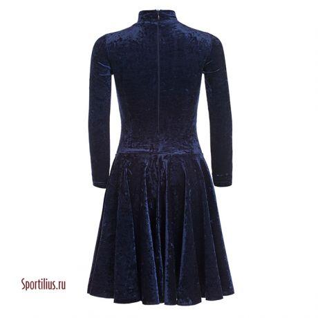 Бархатное платье для танцев темно-синее