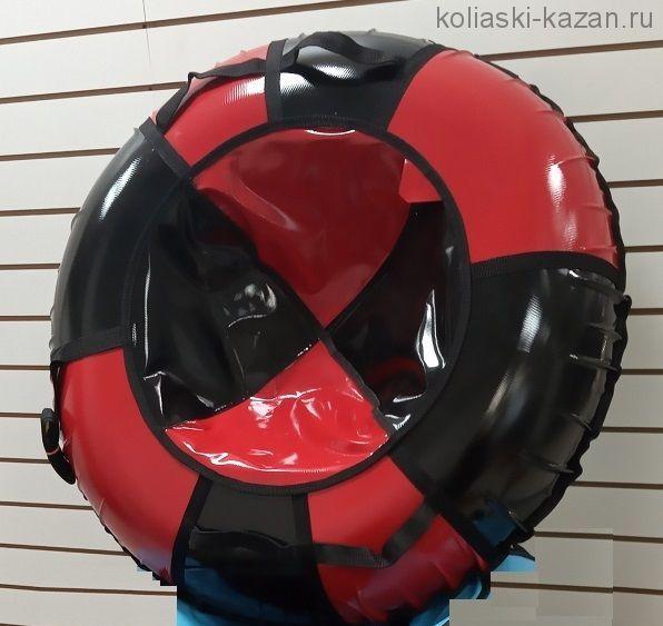 Тюбинги 110 см ПВХ взрослым и детям красно черные (4 ручки)