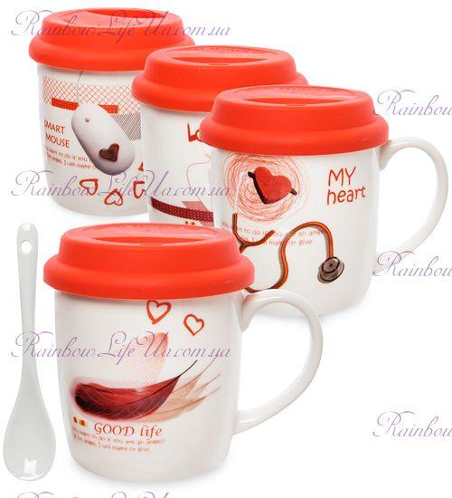 """Чашка с ложкой и крышкой """"Heart"""""""