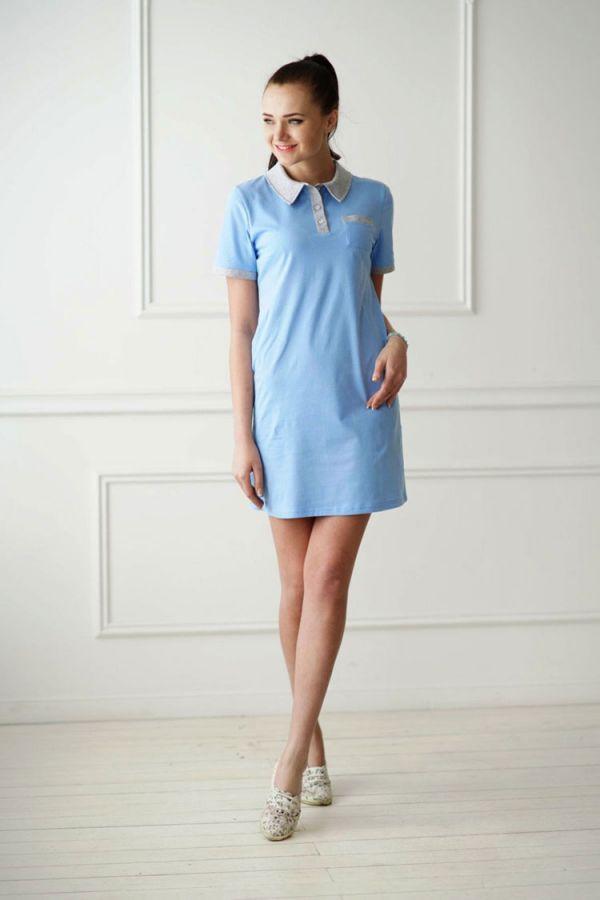 Платье-поло арт.0719 голубое, кулирка