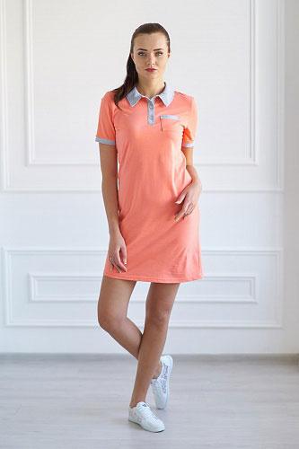 Платье-поло арт.0719 лососевое, кулирка