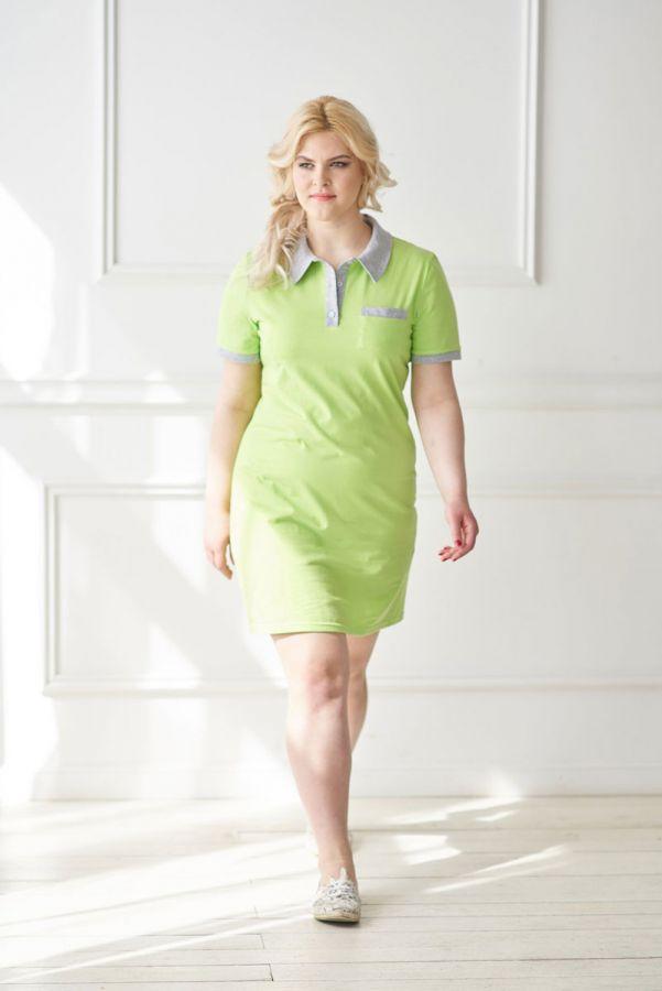 Платье-поло арт.0719 фисташковое, кулирка