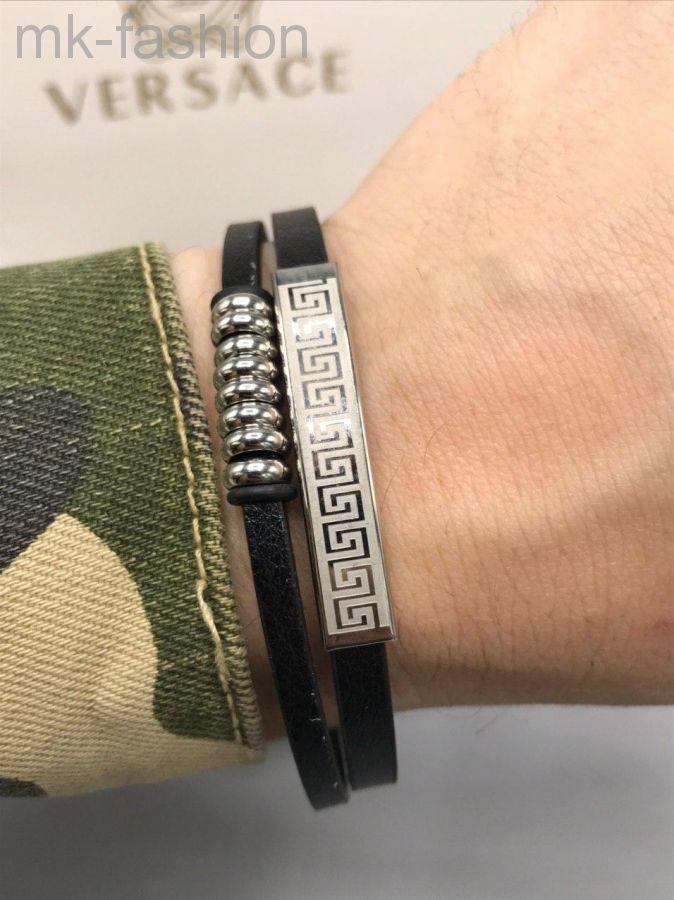 Мужской кожаный браслет Версаче