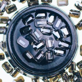 Кристалл черный АВ прямоугольник 6*4 мм 20 шт.