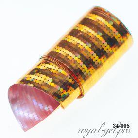 Фольга для литья Hanami голографическая, Линейная мозаика, золото 1м.