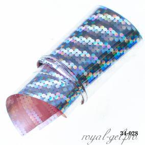 Фольга для литья Hanami голографическая, Линейная мозаика, серебро 1м.
