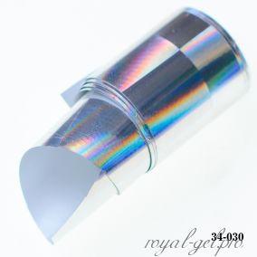 Фольга для литья Hanami голографическая, Лучи в прямоугольнике, серебро 1м.