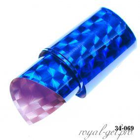 Фольга для литья Hanami голографическая, Квадраты, фиолетовый 1м.