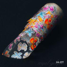 Фольга для литья Hanami голографическая, Бабочки 1м.