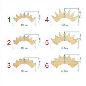 Шаблон ''Корона наклонная 2-2,  основание 50 мм'' , фанера 3 мм (1уп = 5шт)