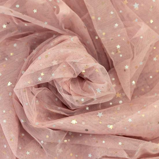 Мягкий фатин (еврофатин) со звездами - Пыльная роза
