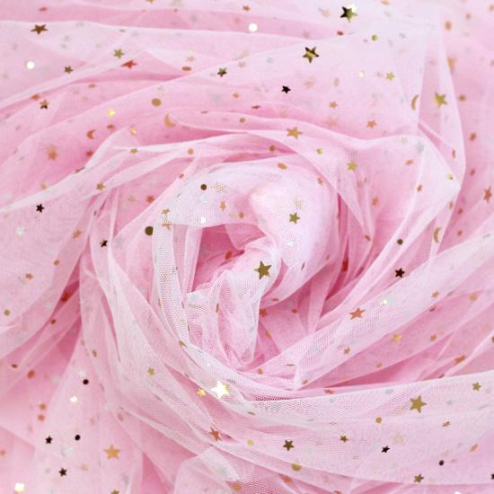 Мягкий фатин Пастель со звездами - Светло-розовый ОСТАТОК