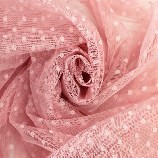 Мягкий фатин Пастель в горошек - Пыльная роза