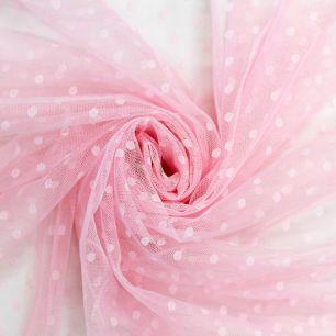 Мягкий фатин Пастель в горошек - Розовый