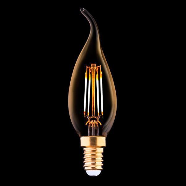 Лампа светодиодная филаментная E14 4W 2200K прозрачная 9793