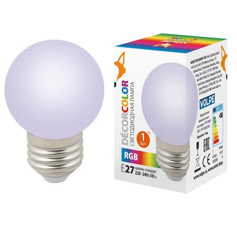 Лампа декоративная светодиодная (UL-00005808) Volpe E27 1W RGB LED-G45-1W/RGB/E27/FR/С