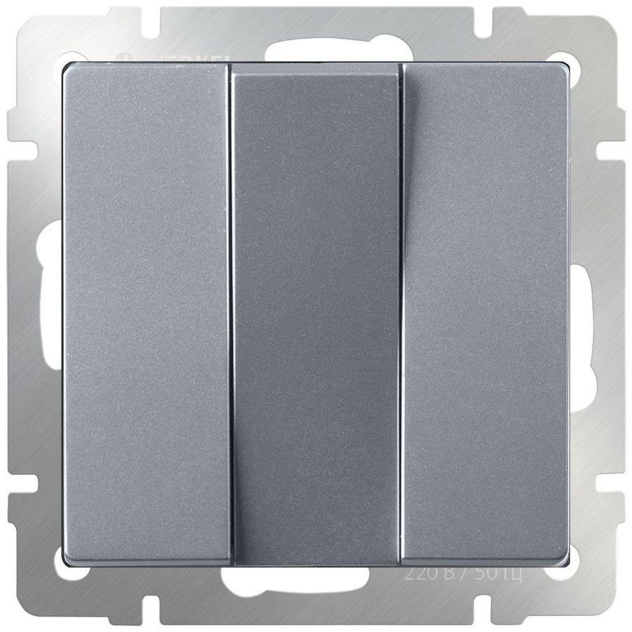 Выключатель трехклавишный Werkel серебряный WL06-SW-3G 4690389111013