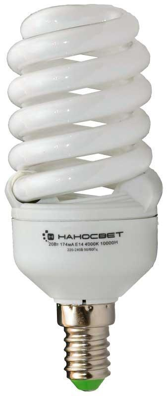 Лампа энергосберегающая Наносвет E14 20W 2700K матовая ES-SPU20/E14/827 E103