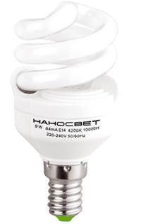 Лампа энергосберегающая Наносвет E14 9W 4000K матовая ES-SPU09/E14/840 E081