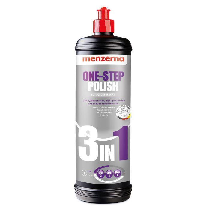 Menzerna One step polish 3 in 1 Универсальная среднеабразивная полировальная паста с воском карнаубы для машинной и ручной полировки, 1л.