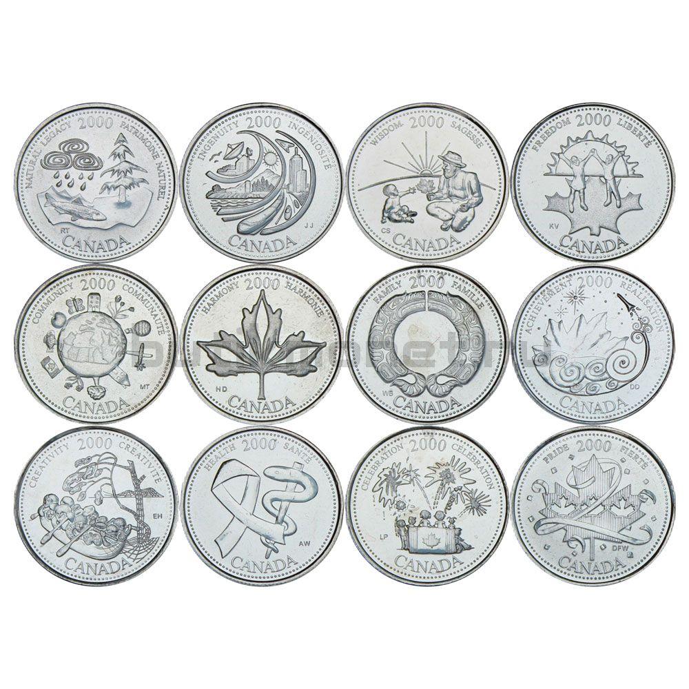 Набор монет 25 центов 2000 Канада Миллениум (12 штук)
