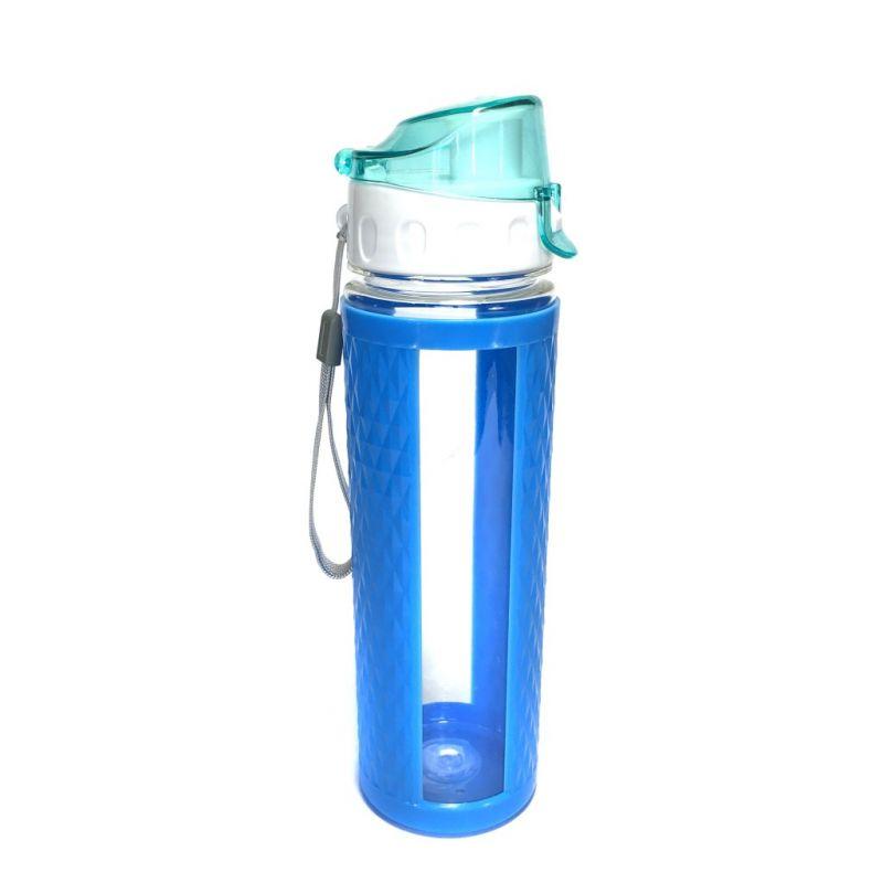 Бутылка для воды с вакуумным клапаном (цвет голубой)
