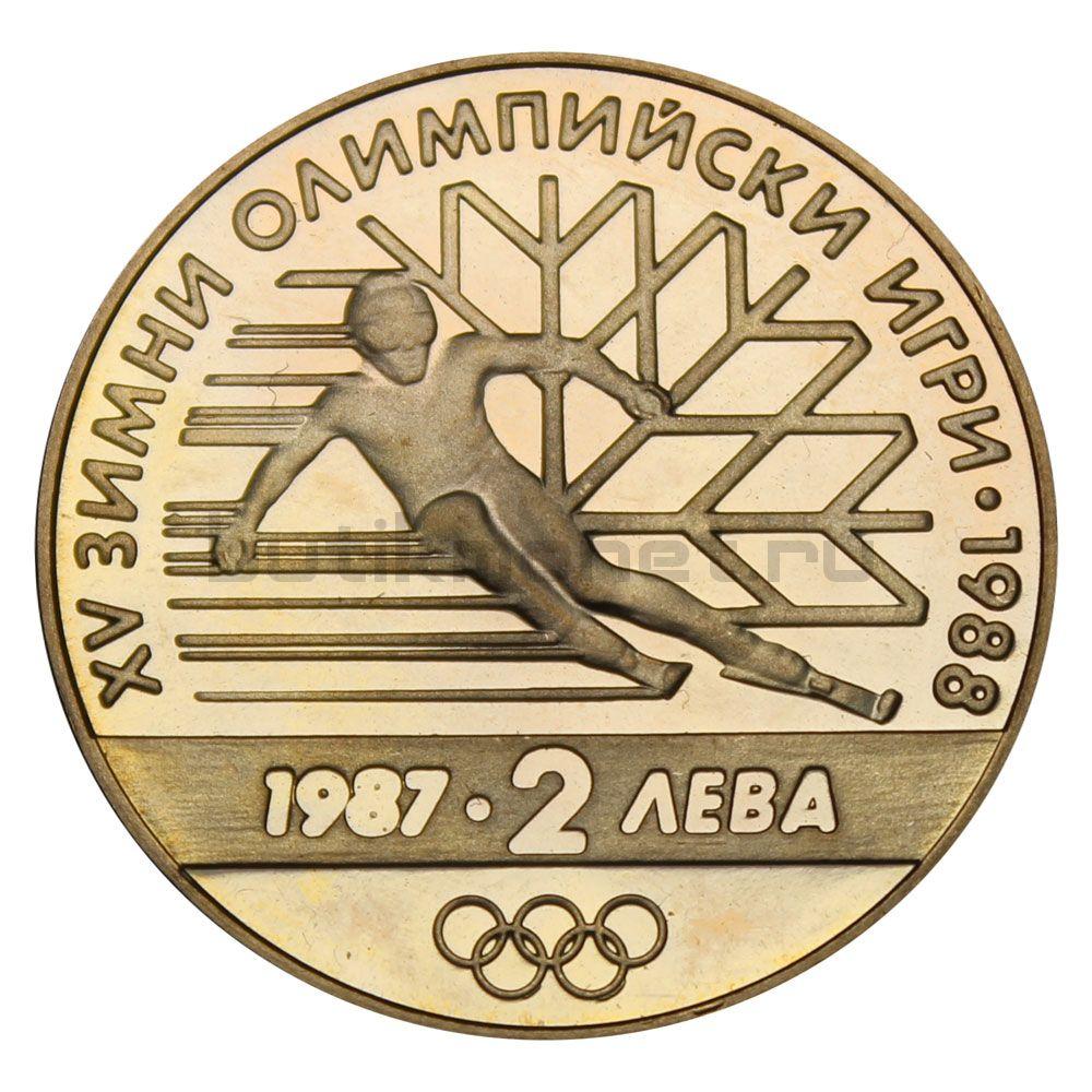2 лева 1987 Болгария XV зимние Олимпийские игры Калгари 1988