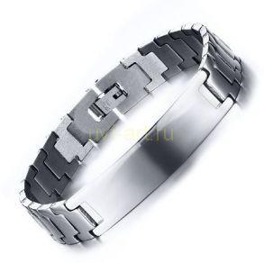 Стильный стальной мужской браслет с планкой для гравировки (арт. 800249)
