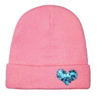 Стильная шапка БИНИ СЕРДЦЕ розовая