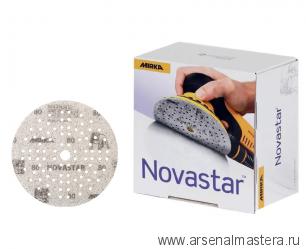 Премиальный шлифовальный абразив на прочной пленочной основе Mirka Novastar 125 мм 89 отверстий Р 320 в комплекте 100 шт FG6C209932