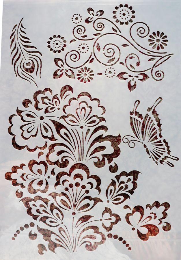 Трафарет для творчества, Бабочка и перо,  29*21 см