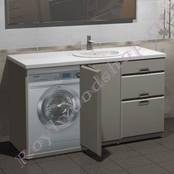 """Тумба для ванной под стиральную машину """"Глосси-С 150 бюджет"""
