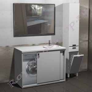 """Тумба для ванной под стиральную машину """"Глосси-Комби 120 бюджет"""