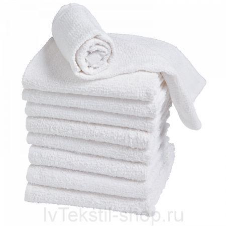 Гладкокрашеное полотенце белое 50х70