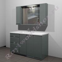 """Зеркало- шкаф и тумба под стиральную машину """"Глосси-С бюджет150"""
