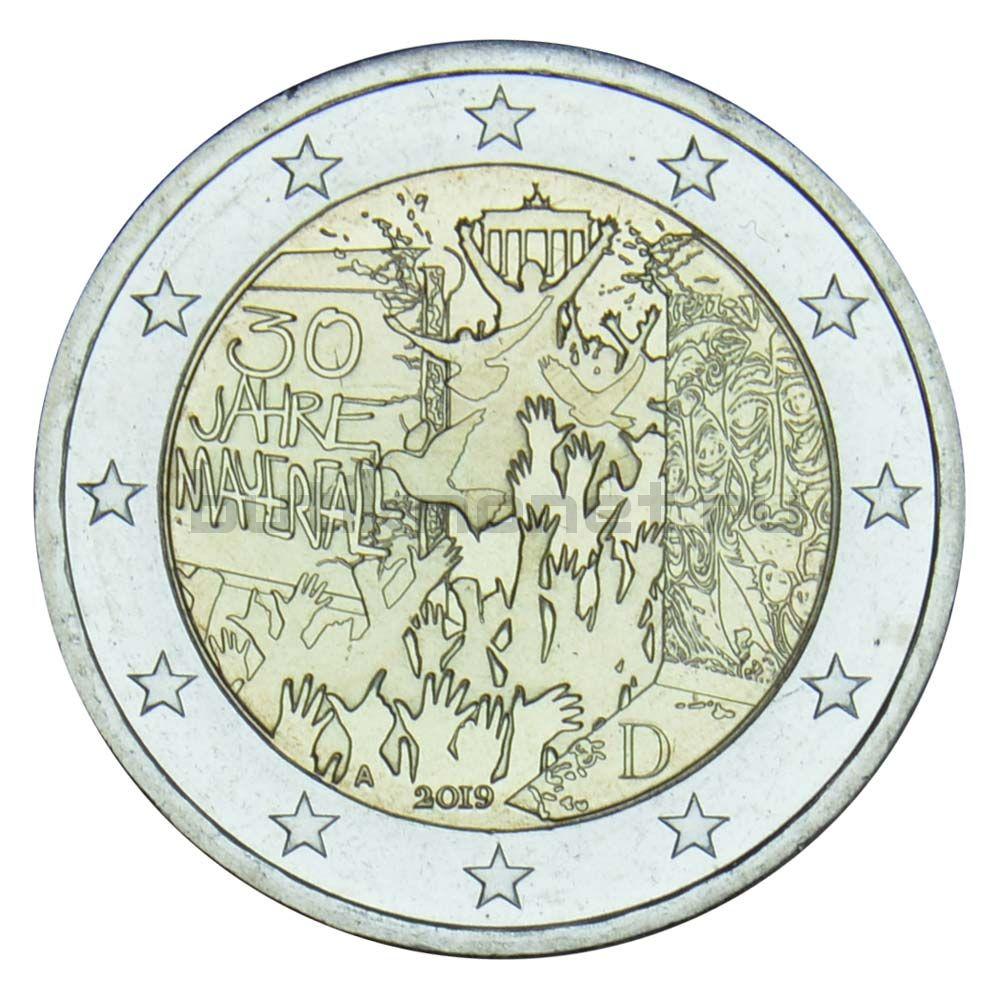 2 евро 2019 Германия Падение Берлинской стены A