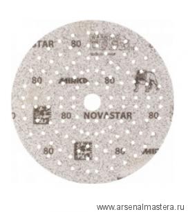 Тестовый набор 5 шт. Премиальный шлифовальный абразив на прочной пленочной основе Mirka Novastar 150мм 121 отверстий Р80