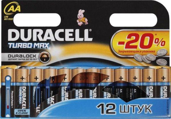 Блистер с элементами питания AA DURACELL TURBO MAX LR6 BL12 (набор из 12 батареек)