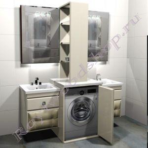 """Тумба для ванной под стиральную машину c двумя раковинами """"Лидс- double"""""""