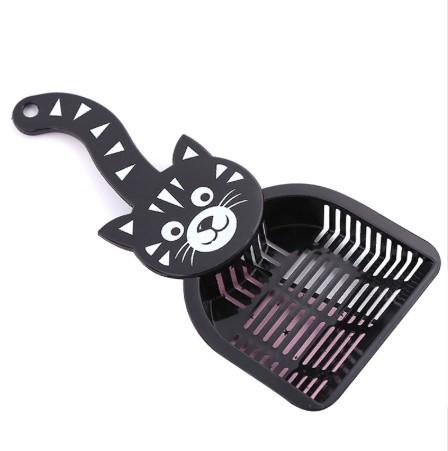 Совок для уборки кошачьего туалета (лотка), 28х12.5 см, цвет Черный