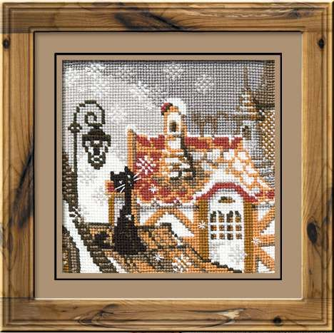 Набор для вышивания крестом Город и кошки. Зима №610 фирма Риолис