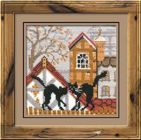 Набор для вышивания крестом Город и кошки. Осень №613 фирма Риолис