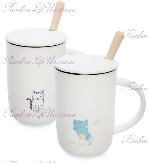 """Чашка с ложкой и крышкой """"Lovely cats"""""""