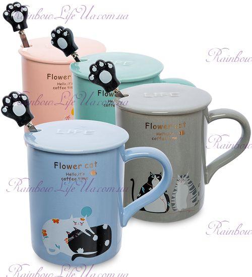 """Чашка с ложкой и крышкой """"Flower cat"""""""